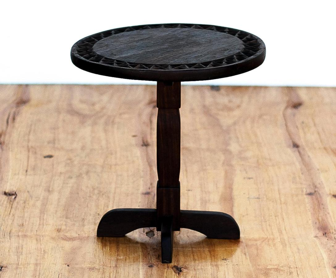 Round Dark Wood Side Table In And Out Sa